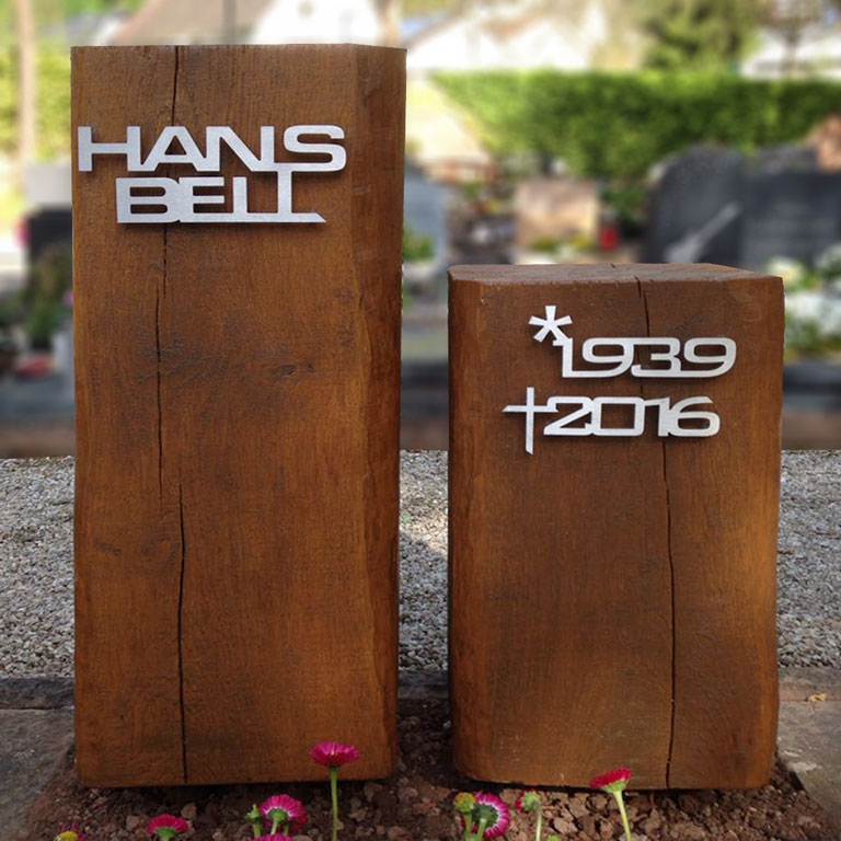 Memorial stele made of real wood with stainless steel