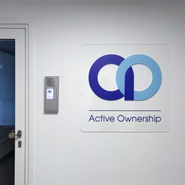Active Ownership | Logo made of acrylic glass